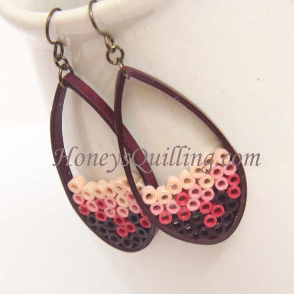 Maroon Ombre Paper Quilled Teardrop Earrings - Honey's Quilling