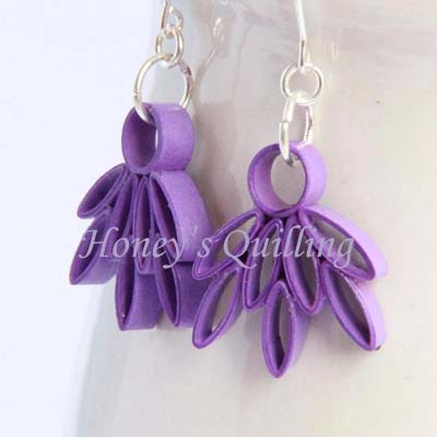 Paper Quilled Lotus Flower Design For Frames Earrings And Pendants