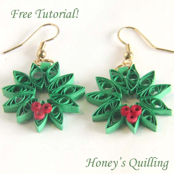 Paper quilling Christmas wreath earrings, gift tags, and greeting cards - Honey's Quilling