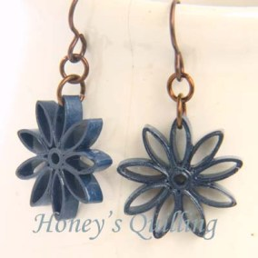 nine pointed star earrings - navy blue