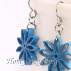 nine pointed star earrings - blue