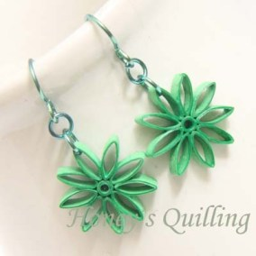 nine pointed star earrings - green