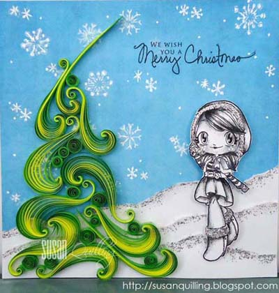 paper quilling christmas card tree with scrolls