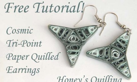 Cosmic Tri Point Paper Quilling Earrings – Free Tutorial