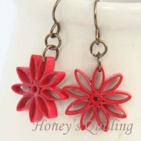 nine pointed star earrings - red