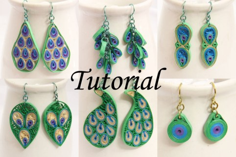 paper quilling peacock earring designs tutorial
