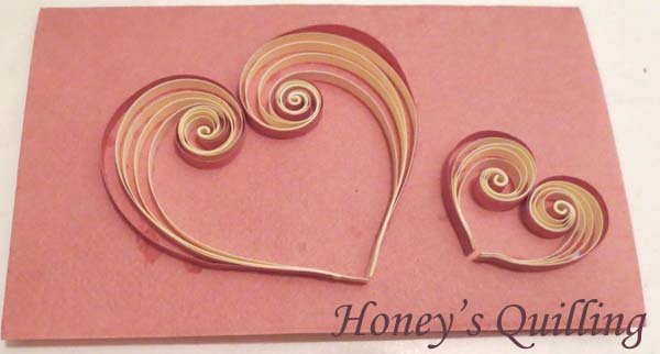 simple scroll hearts paper quilled card - Honey's Quilling