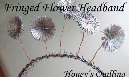 Headband Decorated with Paper Fringed Flowers