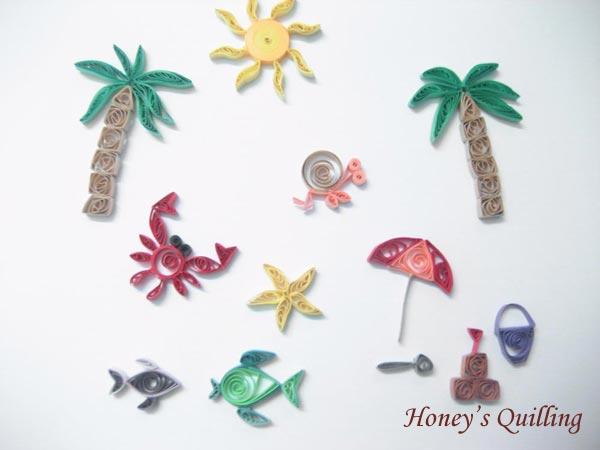 Paper quilling beach set - Honey's Quilling
