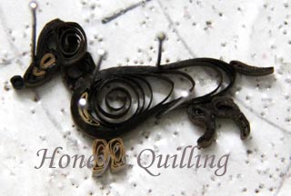 paper quilled dachshund frame - Honey's Quilling