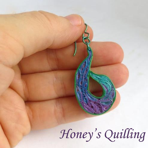 paper quilled paisley peacock earrings by Honey's Quilling