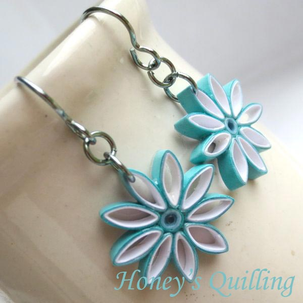 Aqua Ombre Nine Pointed Star Paper Quilled Earrings - Honey's Quilling