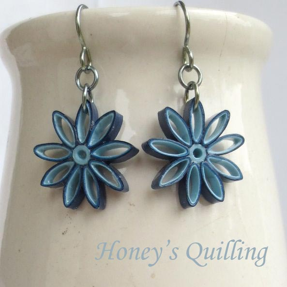 Blue Ombre Nine Pointed Star Paper Quilled Earrings - Honey's Quilling