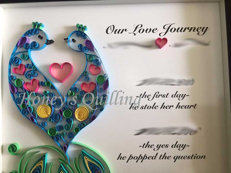 large paper quilled peacock frame - Honey's Quilling