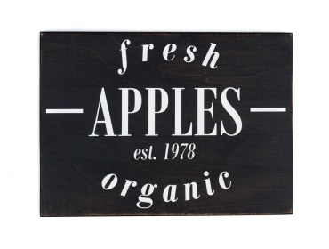 fresh apples wooden sign