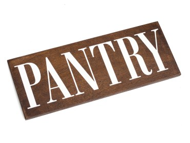 wooden pantry sign