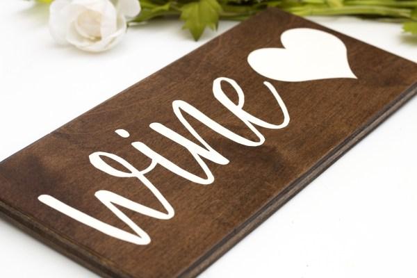 wood wine sign