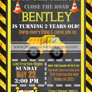 Construction Birthday Invites