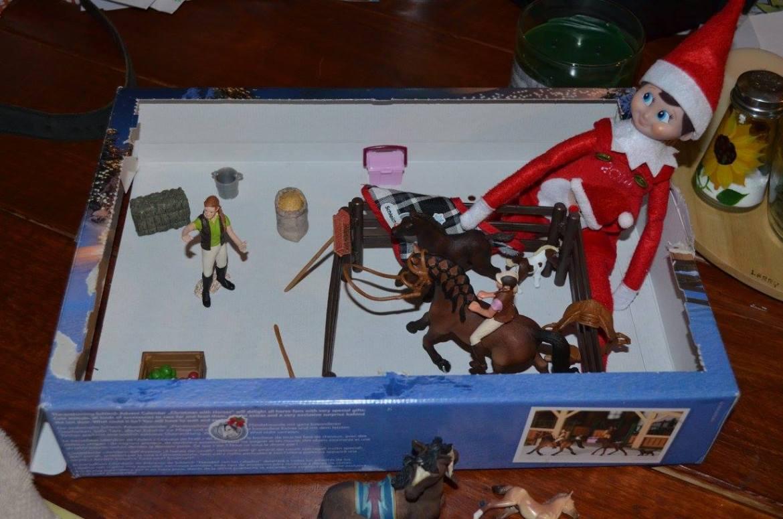 Unique Elf Ideas, creative, Elf on the Shelf, Elf horseback riding