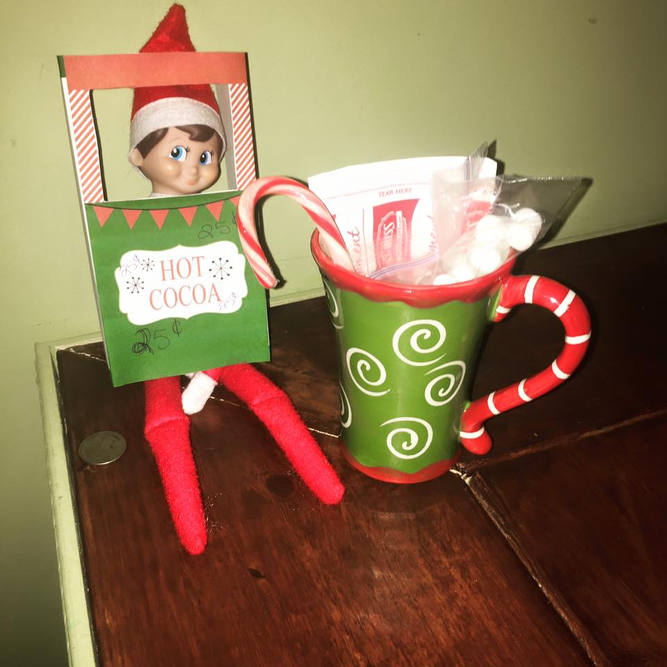 elf on the shelf ideas, Creative & unique elf ideas, hot cocoa stand