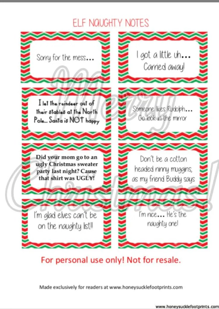 Elf on the Shelf Naughty Notes, Naughty cards, Free printables