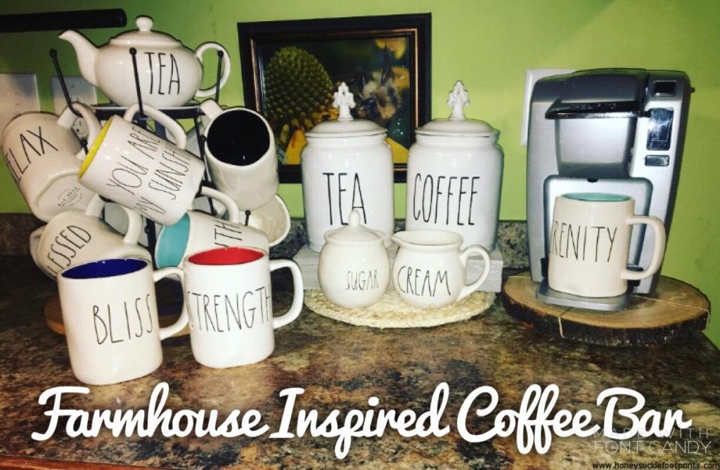 Coffee Bar, Rae Dunn, Farmhouse, Mugs, Keurig, Coffee