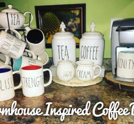 Coffee Bar, Rae Dunn, Farmhouse, Keurig, Mugs, Coffee