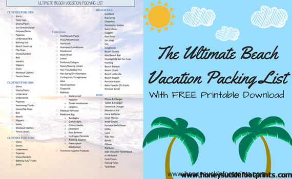 The Ultimate Beach Vacation Packing List Free Printable Honeysuckle Footprints