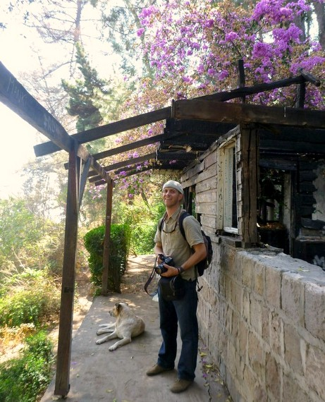 Mike at a burnt out building on San Cristobal Santiago Chile