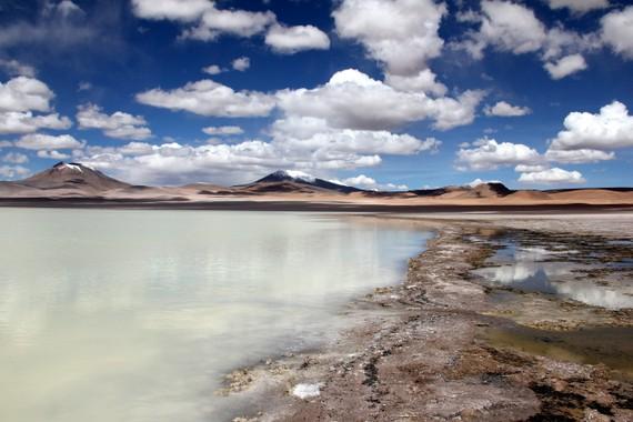 volcanoes spiking the horizon in Bolivia