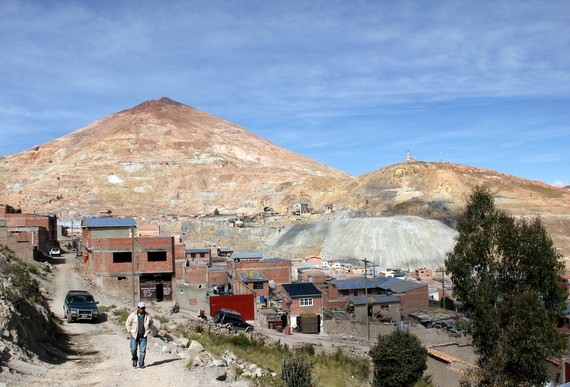 Houses where the wealthier miners lived at the foot of the mountain Potosi Bolivia