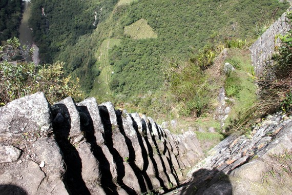 Crazy stair climb up Huayna Picchu Andean Treks