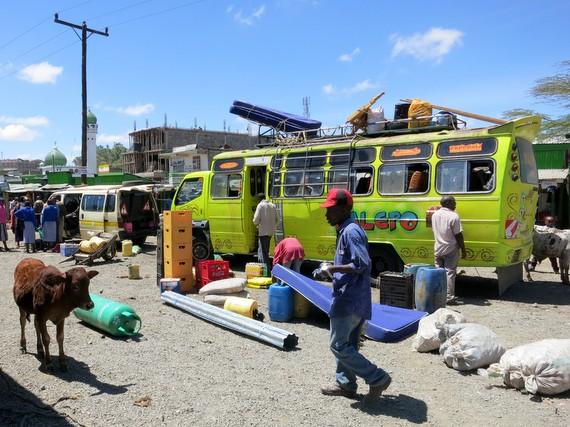 Local bus in Narok, Kenya on the way to the Masai Mara