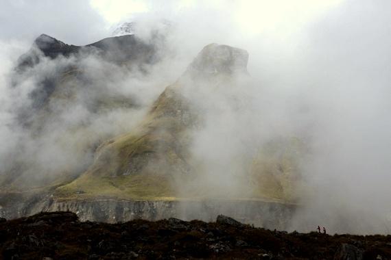 Hiking the ridge at Annapurna Base Camp