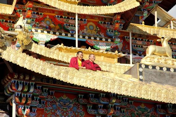 Tibetan Monks Dongzhulin Lamasery