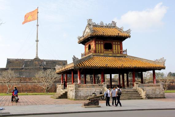 Citadel flag in Hue Vietnam