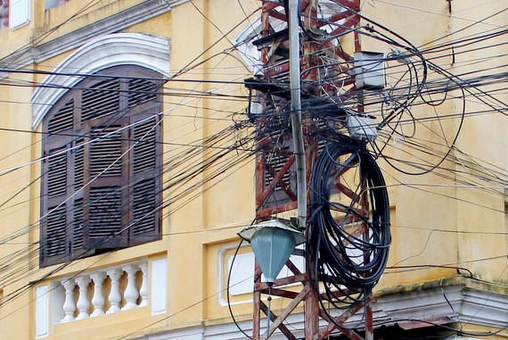 tangled telephone wires