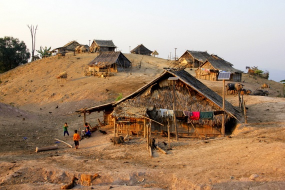 Lahu Village on hill in Laos
