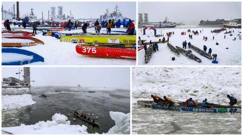 Ice Canoe Race in Quebec