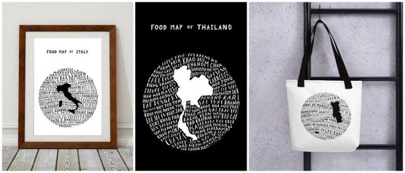 Prints Food Inspired Hand Drawn
