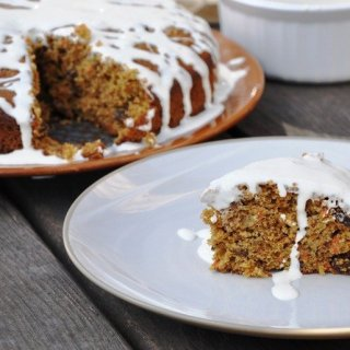 Lightened Carrot Cake with Honey Cream Cheese Glaze