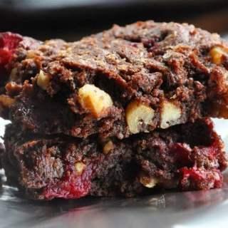 Fudgy Cranberry Walnut Brownies