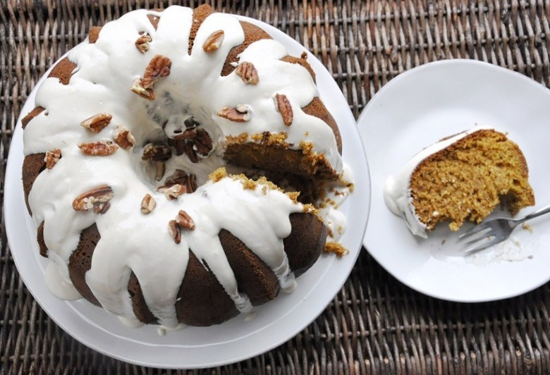 Pumpkin Bundt Cake with Maple Cream Cheese Glaze