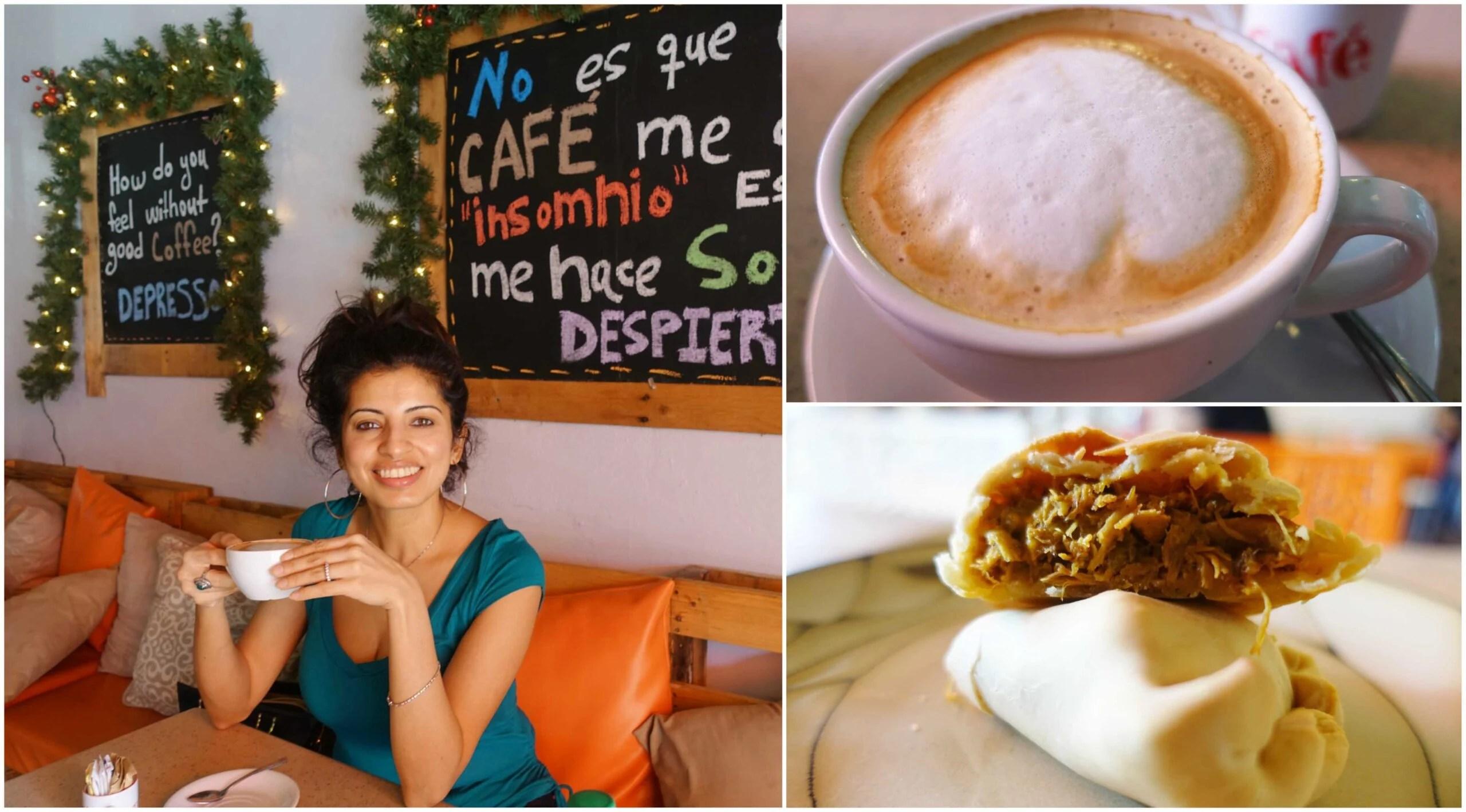 Cafe con Leche, Baked Chicken Empanada - Mi Vida Cafe & Burger, Rio Grande, Puerto Rico