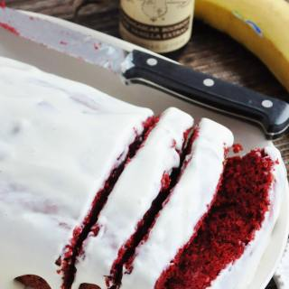 Red Velvet Banana Bread with Cream Cheese Glaze (lightened up, 100% whole wheat)