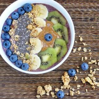 Blueberry Banana Acai Bowl (healthy, high protein, high fiber, antioxidants, gluten free, refined sugar free)