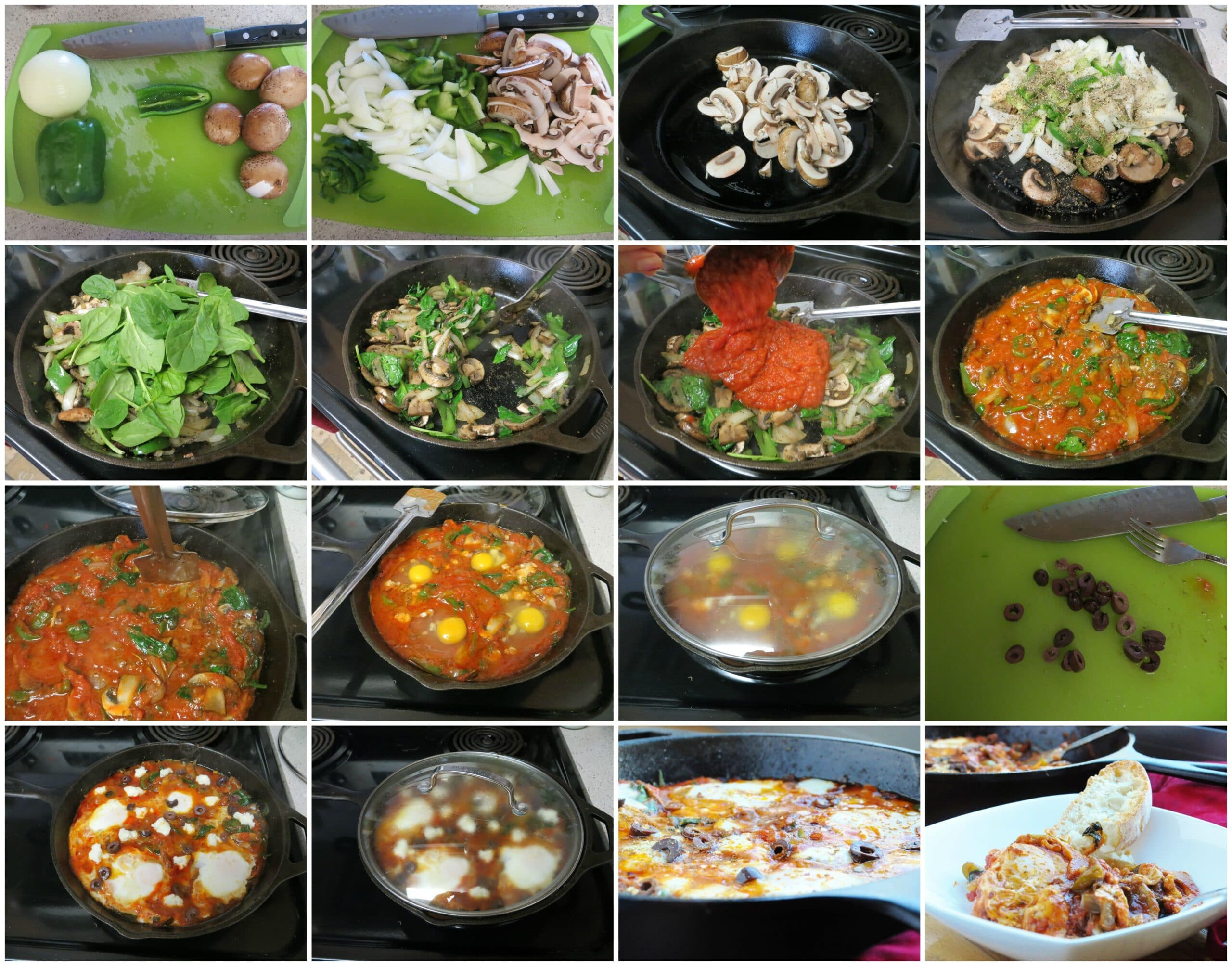 Veggie Pizza Skillet Eggs step-by-step