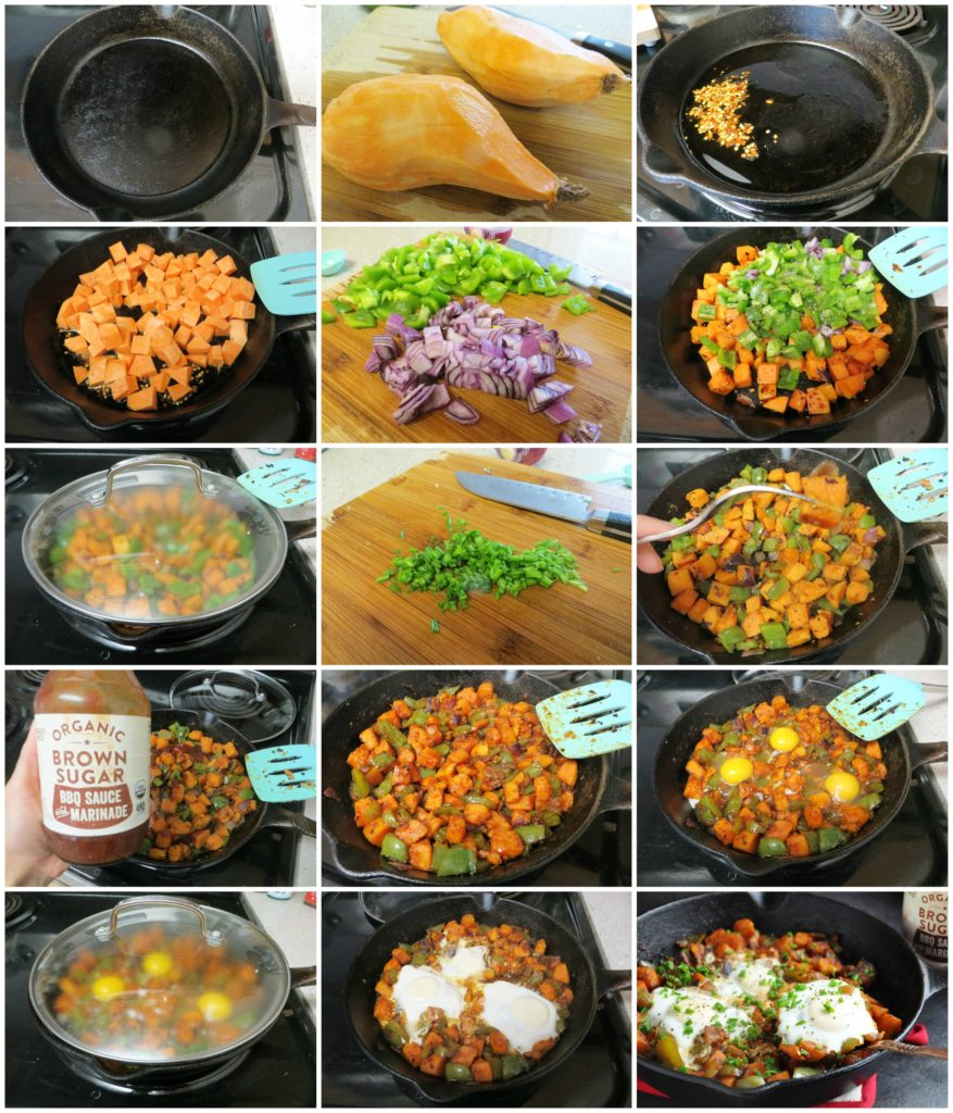 Spicy BBQ Sweet Potato Hash & Eggs step by step
