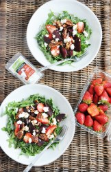 Beet Strawberry & Goat Cheese Arugula Salad