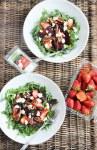 Beet Strawberry & Goat Cheese Arugula Salad